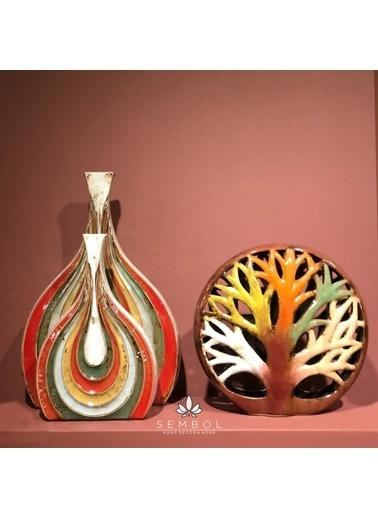 Sembol Seramik Ağaç Desenli Dekoratif Obje Renkli